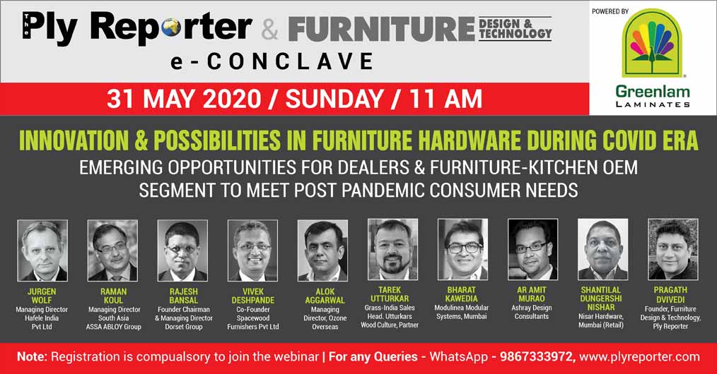 Ply Reporter & FDT e-Conclave on 'Innovation & Possibilities in Furniture Hardware During COVID Era' - Powered by Greenlam Laminates