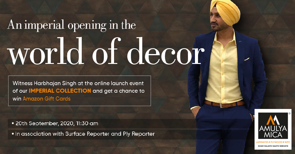 Watch LIVE: Amulya Mica Imperial Premium Laminates Collection Online Launch with Harbhajan Singh and Ar Premnath