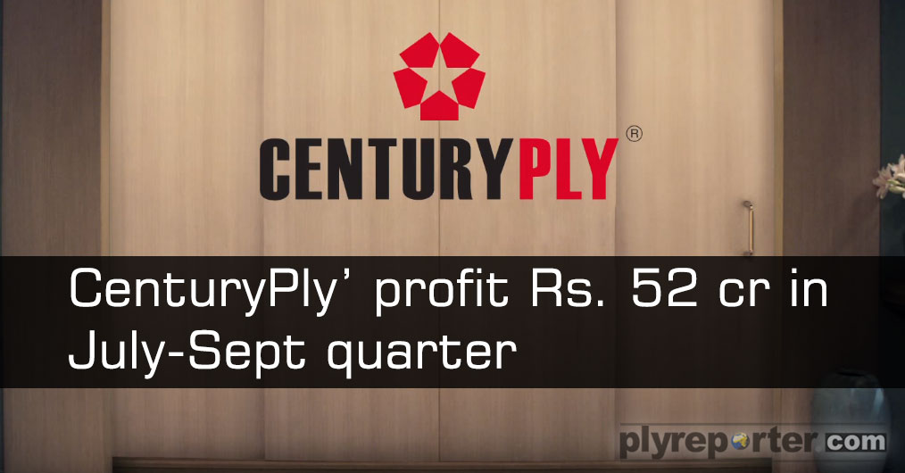 Plywood maker Century Plyboards (India) reported an over 37 per cent rise in net profit to over Rs 52 crore for the quarter-ended September. The net profit in the year-ago-period stood at Rs 38 crore.