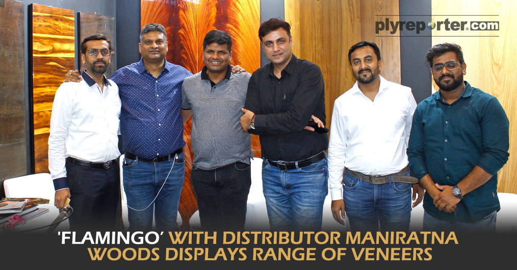 Maniratna Woods the distributor of 'Flamingo' veneer showcased all Flamingo products like decorative plywood, decorative veneer, recon veneer, block board etc.