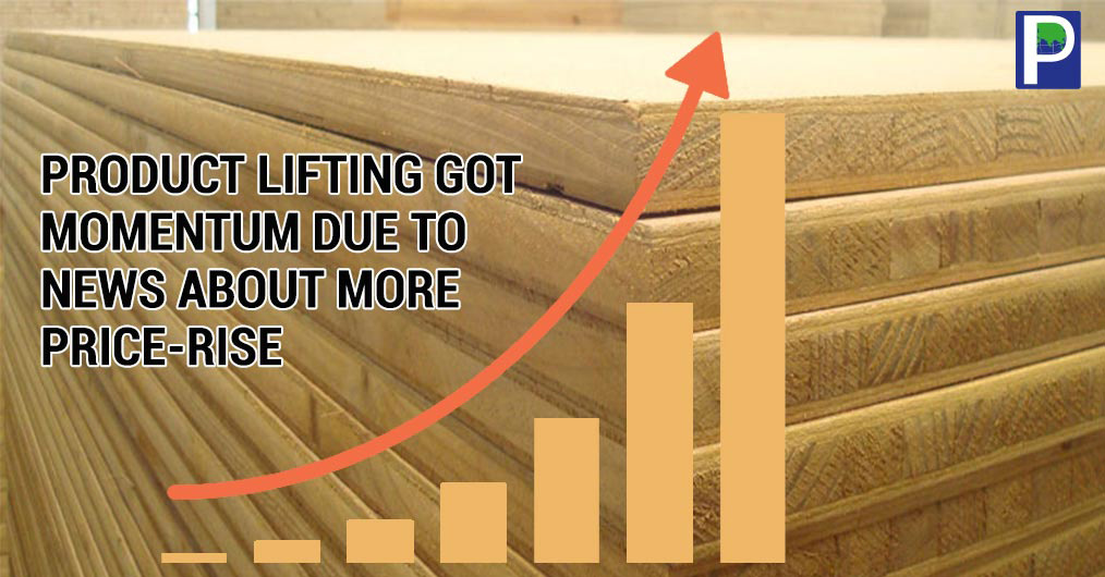 November – December months were reported to have slow lifting of plywood and laminates in market pan India but the last two weeks of December registered momentum in demand due to news about price rise.