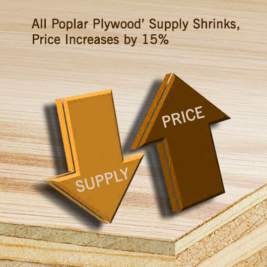 All Poplar Plywood' Supply Shrinks, Price Increases by 15%